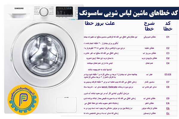 کد خطاهای ماشین لباس شویی سامسونگ